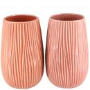 Keramik Vase Pilau, 2 Farben, D15cm, H24cm, rosa-m